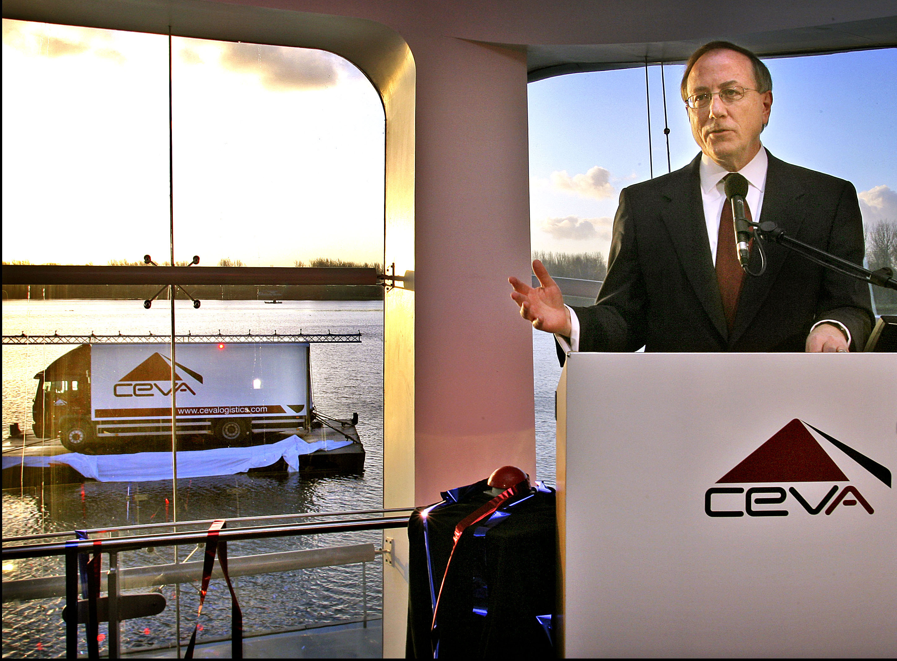 Dave Kulik, CEO, heads CEVA Logistics speaks after the unvealing of the new company brand CEVA Logistics in Hoofddorp, The Netherlands 12 December 2006.
